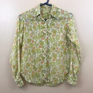Vintage floral Button Down LongSleeve Shirt Blouse